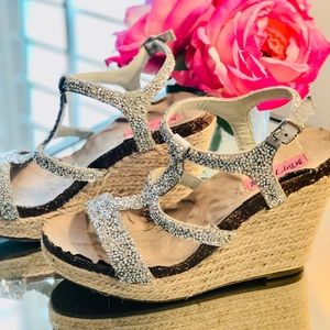 Betsy Johnson Bling Wedge Platform Fun Summer